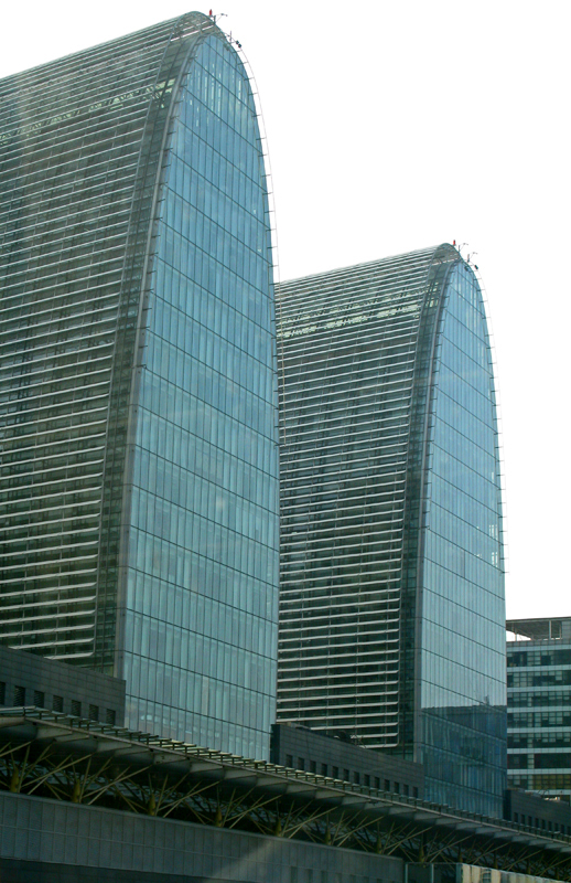 Two of the three Xihuan towers, designed by the French architectural agency AREP