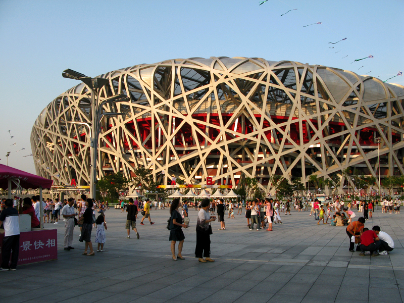 The «bird's nest», the Olympics' stadium at sunset. Architects : Ai Weiwei, Pierre de Meuron, Jacques Herzog, Li Xinggang