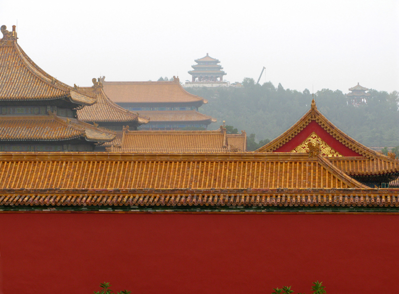 "Palaces' roofs and view on the Jingshan Park and the ""Coal's Hill"""