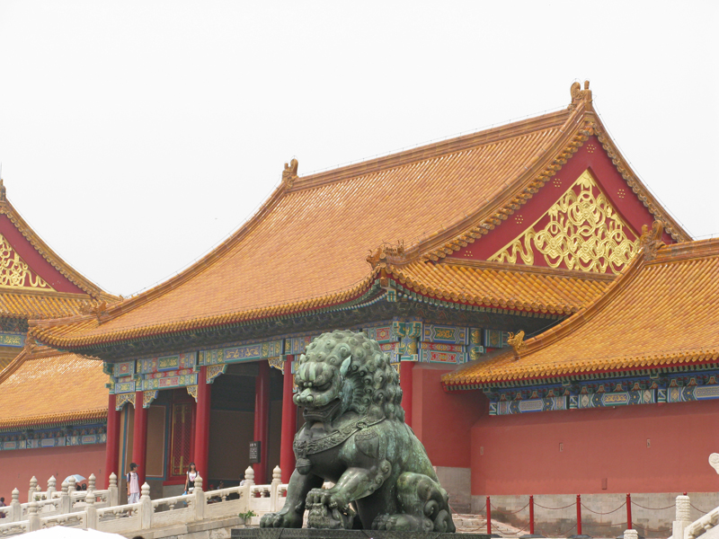 Access pavilion to the Forbidden City. A lion representing the imperial power.