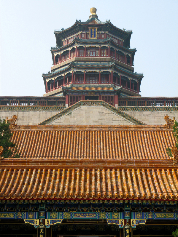 Tower of the Fragrance of the Buddha, seen from the Hall of Dispelling Clouds