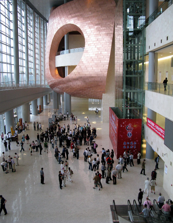 Some of the 2500 participants of the Congress in the huge entrance hall of the China National Convention Center