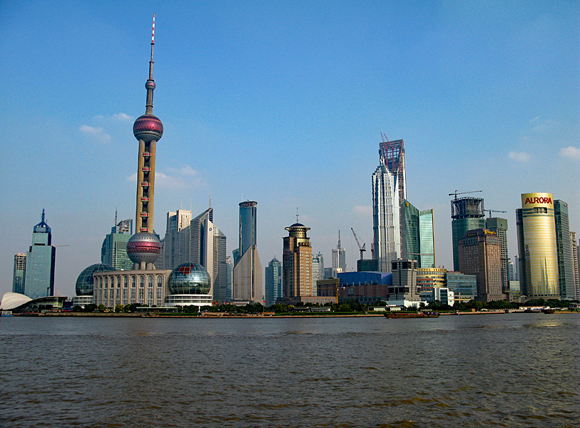 View over the famous ultra modern Pudong business area seen from the Bund