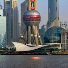 Detail view over Pudong from the Bund, with the lower part of the TV « Pearl Tower »