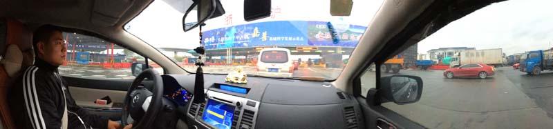Arrivée au péage du pont sur la route de Ningbo à Shanghai