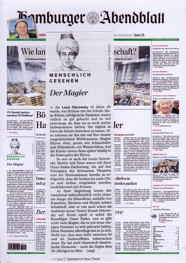 "Germany, Hamburg, interview on the front cover page of the ""Hamburger Abendblatt"" newspaper, 2015"