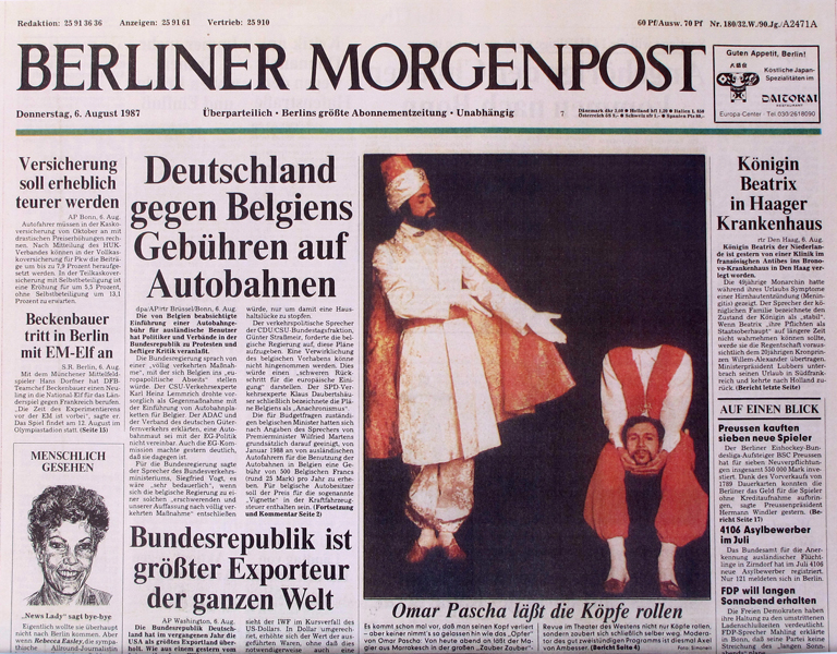 "Germany, Berlin, first page of the ""Berliner Morgenpost"" newspaper, 1987"
