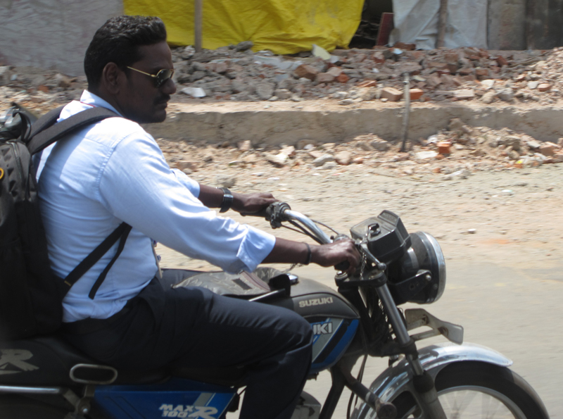 Riding a motorcycle in Chennai