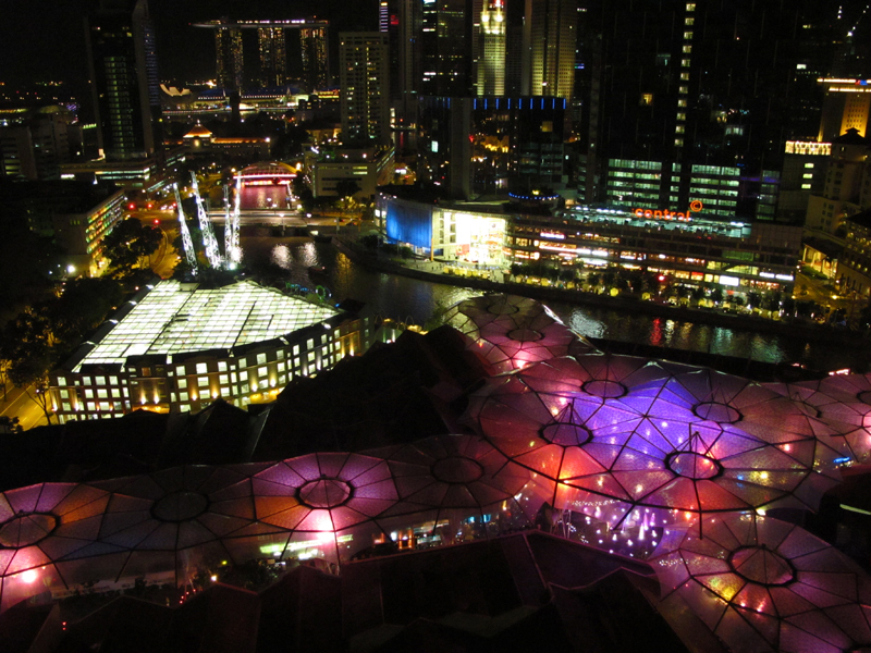 Clarke Quay in the foreground, part of the city, and Marina Bay Sands in the background