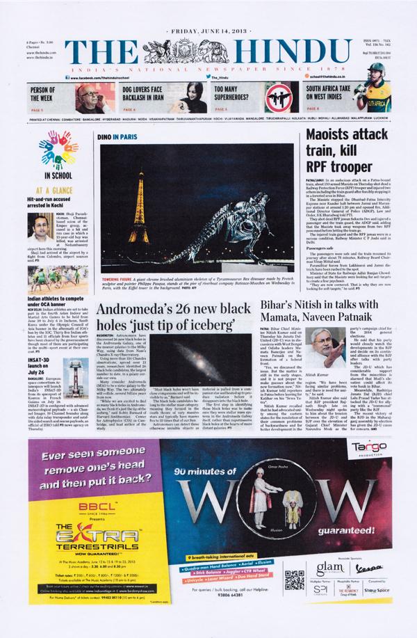 """Inde, Chennai, Omar Pasha annoncé en première page du journal """"The Hindu"""", 2013"""