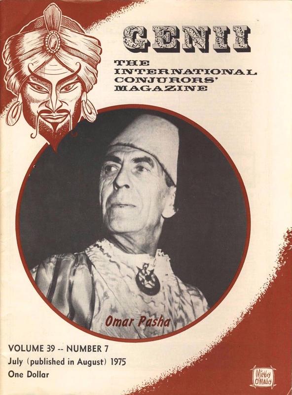 """USA, Omar Pasha, Willy Berscheid en page de couverture du magazine magique """"Genii"""", 1975"""
